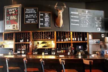 Interior and menu of Balzac wine bar in Milwaukee, Wisconsin