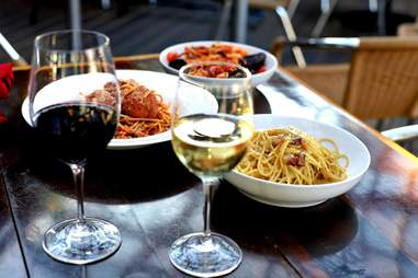 Pasta and wine at Pizza Man Italian restaurant and bar in Milwaukee Wisconsin