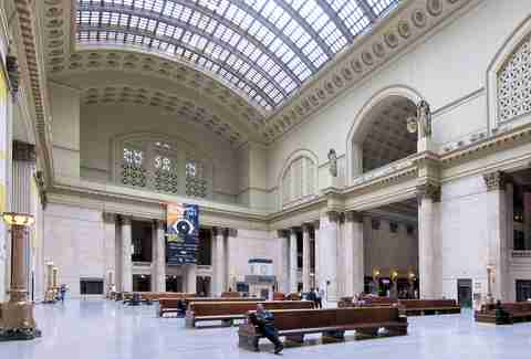 Interior of Union Station in Chicago, benches