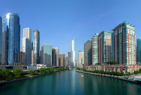 chicago skyline, link bridge, lake shore drive