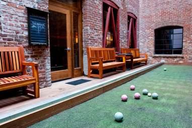 The Hidden Vine wine bar's bocce ball court in the Financial District, San Francisco, California
