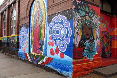 Mother Mary Mural in Pilsen's Art Scene in Chicago