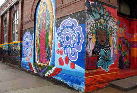 Mother Mary Mural in Pilsen's Art Scene in Chicago