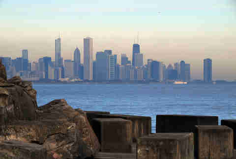 Promontory point, water, Chicago skyline