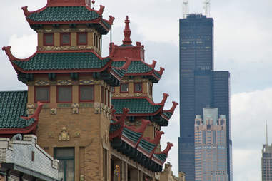 Chinatown buildings in Chicago Little Italy
