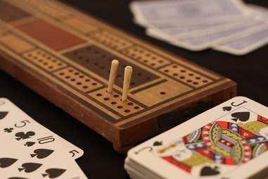 Cribbage set and deck of cards
