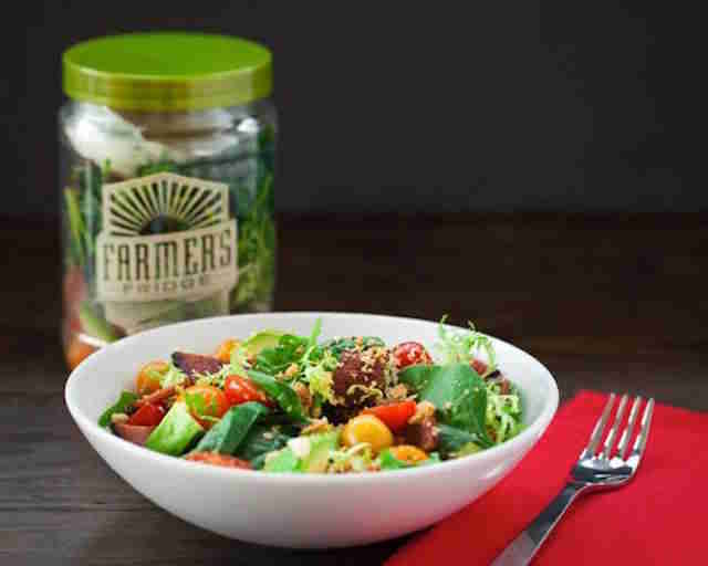 fresh salad from Farmer's Fridge in Chicago Loop with fork