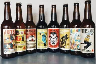 beer bottles from Bellwods Brewery