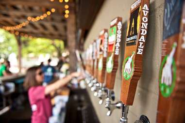 tap handles from Avondale Brewing Company, beer