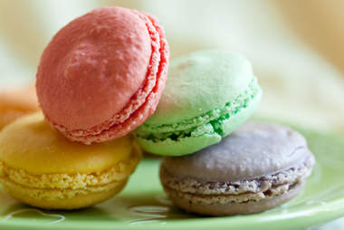 Colorful macarons stacked on top of each other