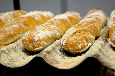 Baguettes with flour powdered on top