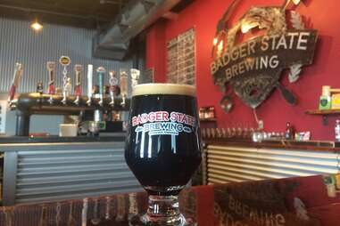 cherry wood smoked malt beer at Badger State Brewing Co