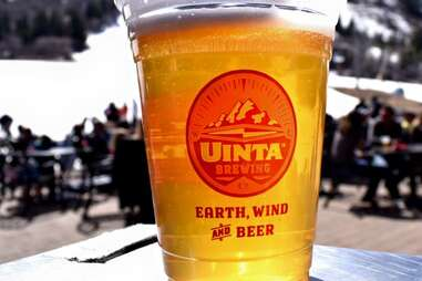 uinta beer in a plastic cup on ski mountains