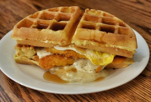 waffle sandwich, chicken and waffles