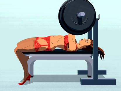 Illustration of woman in red lingerie working out