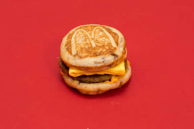 McDonald's sausage mcgriddle with egg and cheese