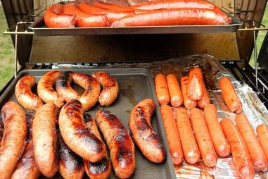 Hot dogs being grilled at a BBQ