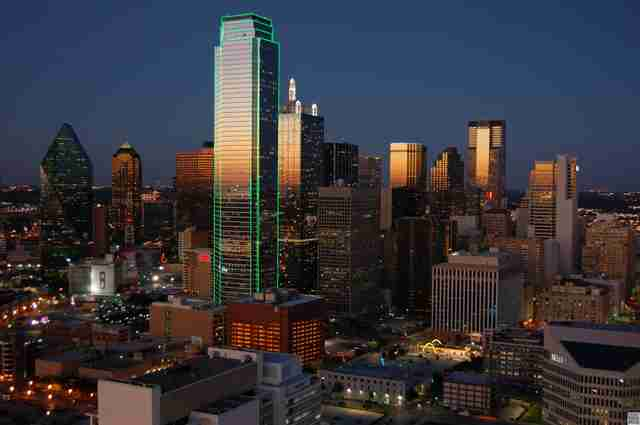 Dallas skyline in the evening