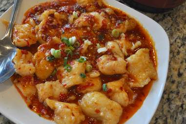 spicy dish with red pepper and scallions at China Jade