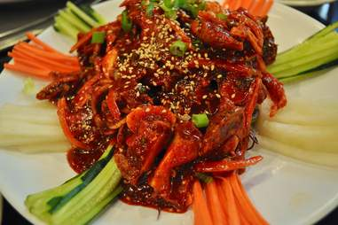 spicy asian dish with scallions and sesame seeds at seoul korean