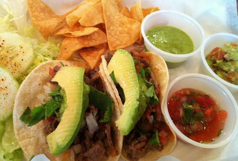 tacos with avocados at el valle in denver