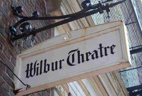 Outside hanging sign of Wilbur Theatre
