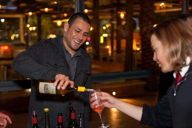 Wine pouring at Hearthstone bar at the Red Rock Resort in Las Vegas, Nevada