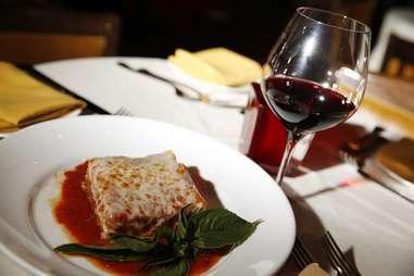 Eggplant parmigiana and wine at Ferraro's Italian restaurant and wine in Eastside, Las Vegas, Nevada