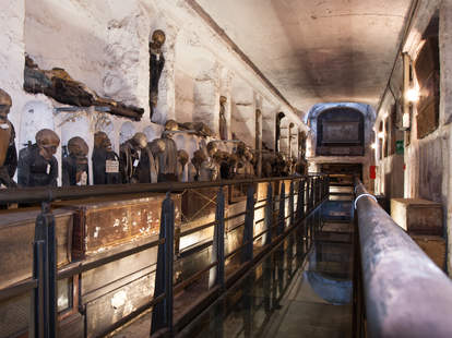 Underground tunnels. Capuchins catacombs, and mummies in Palermo, Italy