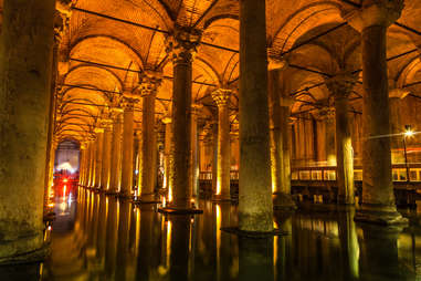 The underground Basilica Cistern in Istanbul, Turkey