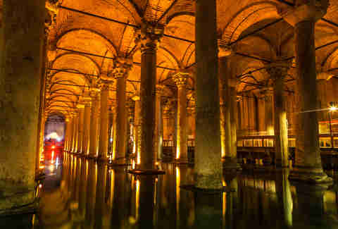 The underground Basilica Cistern in Istanbul, Turkey