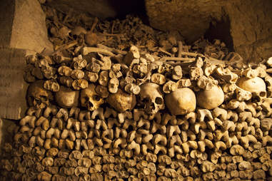 Catacombs filled with skulls and bones in Paris, France