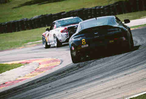 An Aston Martin Vantage on a race track