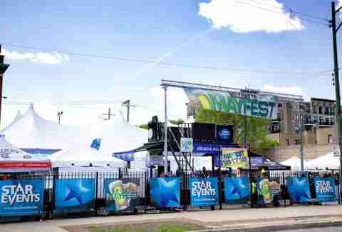 tents set up at Mayfest in chicago, music