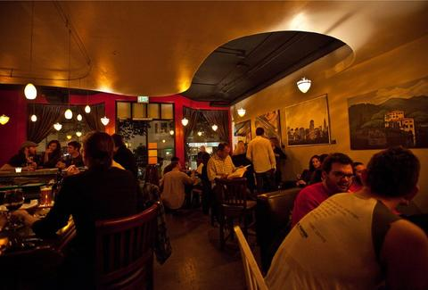 Interior of InnerFog wine bar in San Francisco, California