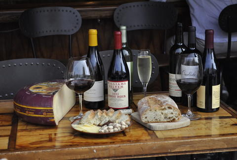 Wine, cheese, and bread at California Wine Merchant in San Francisco