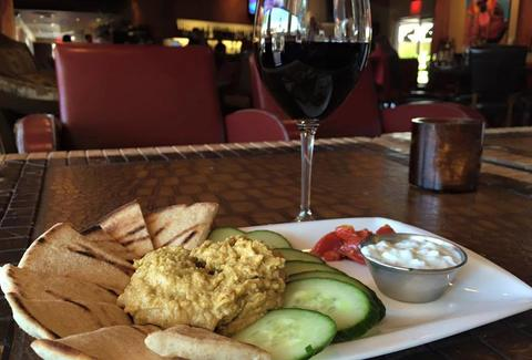 red wine and hummus plate at 5th and wine scottsdale arizona