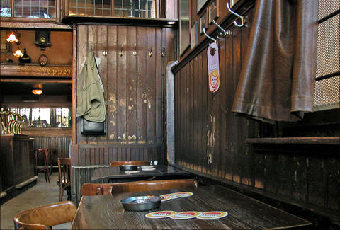 Rustic interior shot of Amsterdam's Hoppe bar