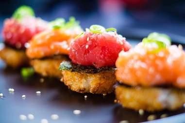 Row of inventive sushi in Amsterdam restaurant