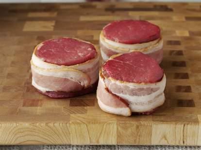 Pork Barrel BBQ, bacon wrapped pork