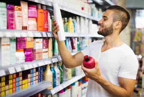man shopping, man hair care