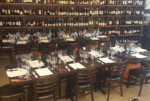 dining table at vintner wine market in charlotte
