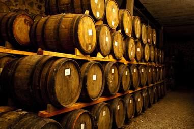 Rows of barrels sitting underground