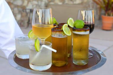 An assortment of cocktails on a Platter