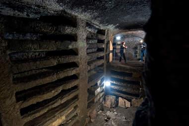 Cubicle of Apostles catacombs in Santa Tecla, Rome, Italy