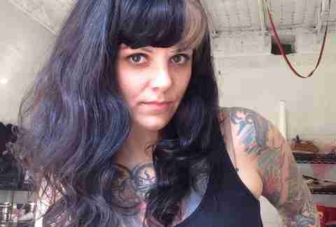 Dawn Cooke, tattoo artist and shop owner of Harlequin Tattoos, Detroit, Michigan