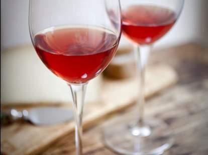 two glasses of rose at O'Hara and Flynn Wine Bar in Charleston
