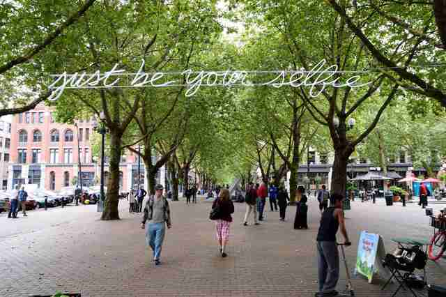 sign that says just be your selfie in occidental park