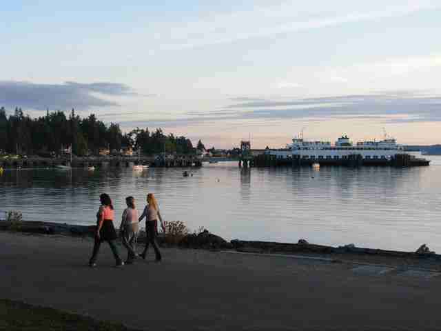 walking along the water at Lincoln Park in Seattle