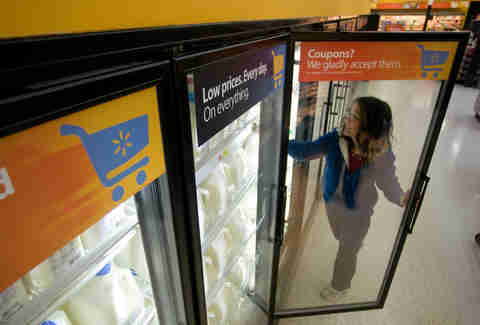 walmart shopper fridge door open interior